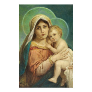 Blessed Mother Mary Baby Jesus Stationery Design