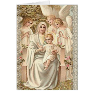Blessed Mother with Baby Jesus Birthday Angels Card
