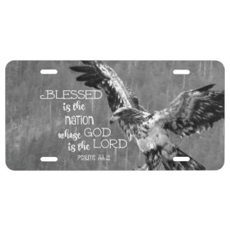 Blessed Nation Whose God is the Lord with Eagle License Plate