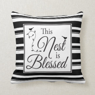Blessed Nest Black and White Stripes & Birds Throw Pillow