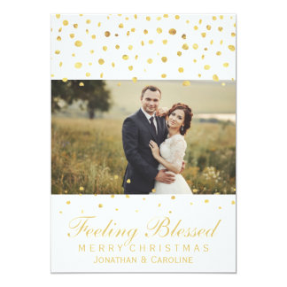 Blessed Newlywed Christmas Gold Confetti Photo Card
