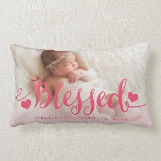 Blessed | Pink Baby Birth Photo Keepsake Pillow