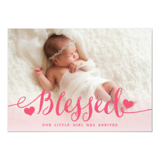 Blessed | Pink Baby Girl Photo Birth Announcement