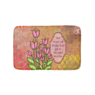 Blessed Positive Thought Doodle Flower Bathmat