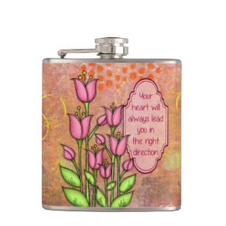 Blessed Positive Thought Doodle Flower Flask