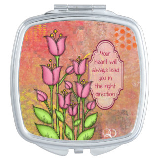 Blessed Positive Thought Doodle Flower Mirror