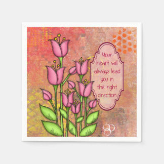 Blessed Positive Thought Doodle Flower Napkin Paper Napkin