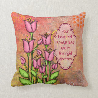 Blessed Positive Thought Doodle Flower Pillow