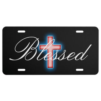 Blessed Red Cross Black Background License Plate