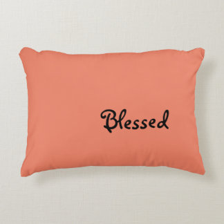 """""""Blessed"""" Salmon Colored Pillow"""
