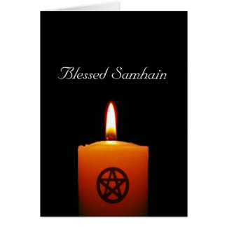 Blessed Samhain Pagan Candle with Pentacle Card