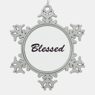 Blessed Snowflake Pewter Christmas Ornament
