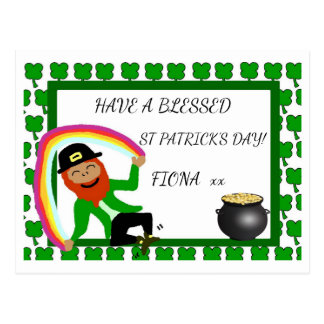 Blessed St Patrick's Day rainbow gold postcard