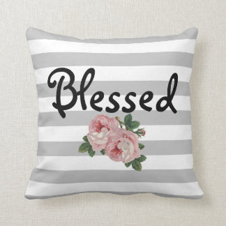 Blessed Striped and Floral Accent Pillow