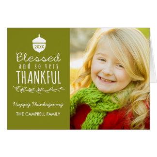 Blessed Thanksgiving Photo Greeting Card / Olive