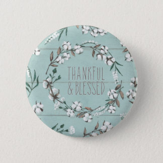 Blessed VI Mint   Thankful & Blessed 2 Inch Round Button