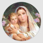 Blessed Virgin Mary and Infant Child Jesus Round Stickers