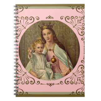 Blessed Virgin Mary Baby Jesus Decorative Border Notebook