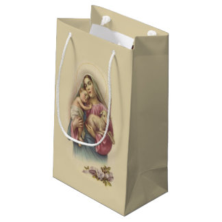 Blessed Virgin Mary Baby Jesus Flowers Small Gift Bag