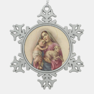 Blessed Virgin Mary Mother Baby Jesus & Lamb Snowflake Pewter Christmas Ornament