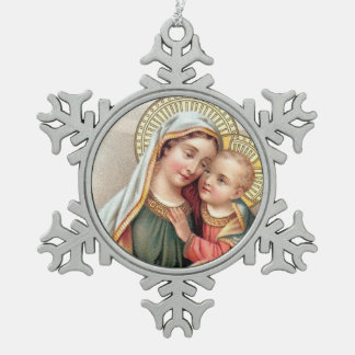 Blessed Virgin Mary Mother Baby Jesus Snowflake Pewter Christmas Ornament
