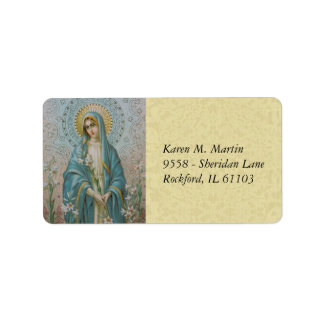 Blessed Virgin Mary  Mother holding a lily Label
