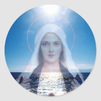 Blessed Virgin Mary Over the Ocean Classic Round Sticker