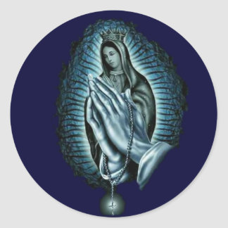 Blessed Virgin Mary Prayer Rosary Classic Round Sticker