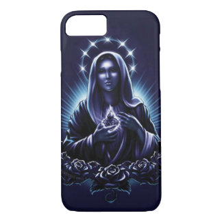 Blessed Virgin Mary - Purple Madonna and Roses iPhone 7 Case