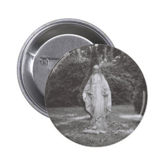 Blessed Virgin Mary Stone Statue 2 Inch Round Button