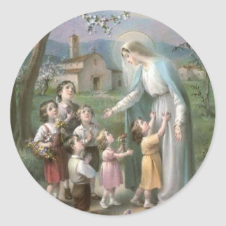 Blessed Virgin Mary surrounded with children Classic Round Sticker
