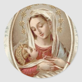 Blessed Virgin Mary with Baby Jesus Round Sticker