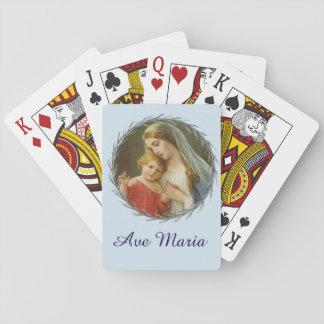 Blessed Virgin Mary with Baby Jesus Wreath Playing Cards