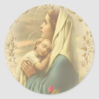 Blessed Virgin Mary with Child Jesus Classic Round Sticker