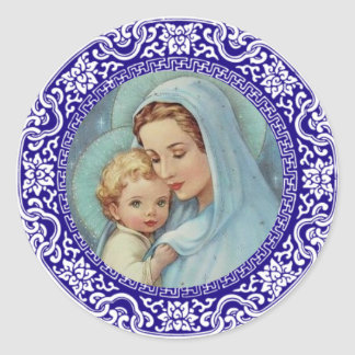 Blessed Virgin Mother Mary Baby Jesus Blue Border Classic Round Sticker