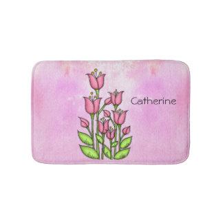 Blessed Watercolor Doodle Flower Bathmat