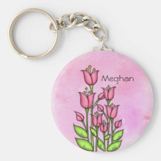 Blessed Watercolor Doodle Flower Keychain