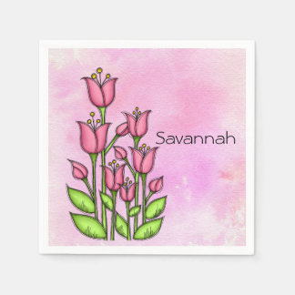 Blessed Watercolor Doodle Flower Napkin
