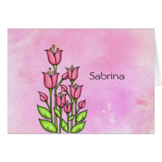 Blessed Watercolor Doodle Flower Note Card