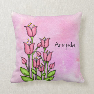 Blessed Watercolor Doodle Flower Pillow