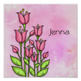 Blessed Watercolor Doodle Flower Poster