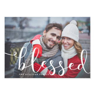 Blessed Whimsical Script | Holiday Photo Card