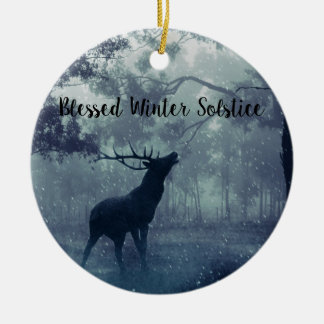 Blessed Winter solstice Forest stag Ceramic Ornament