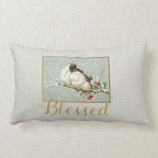 Blessed Winter Vintage Snow Birds Lumbar Pillow