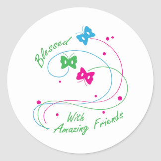 BLESSED WITH FRIENDS CLASSIC ROUND STICKER