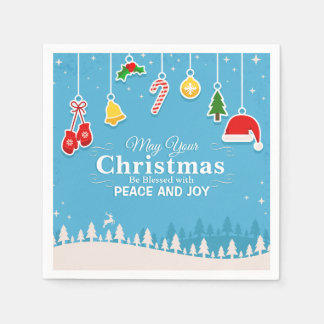 Blessed with Peace & Joy Christmas | Napkin Paper Napkins