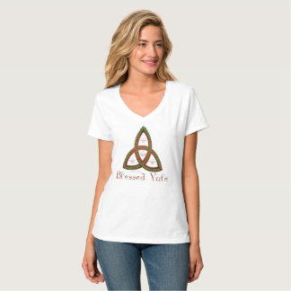 Blessed Yule Ladies Nano V-Neck T-Shirt