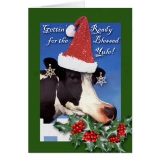 Blessed Yule, Winter Solstice, Cow in Santa Hat Card