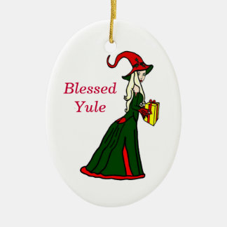 Blessed Yule Winter Witch Ornament