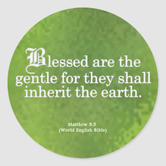 Blessing for Gentleness Matthew 5:5 Round Sticker
